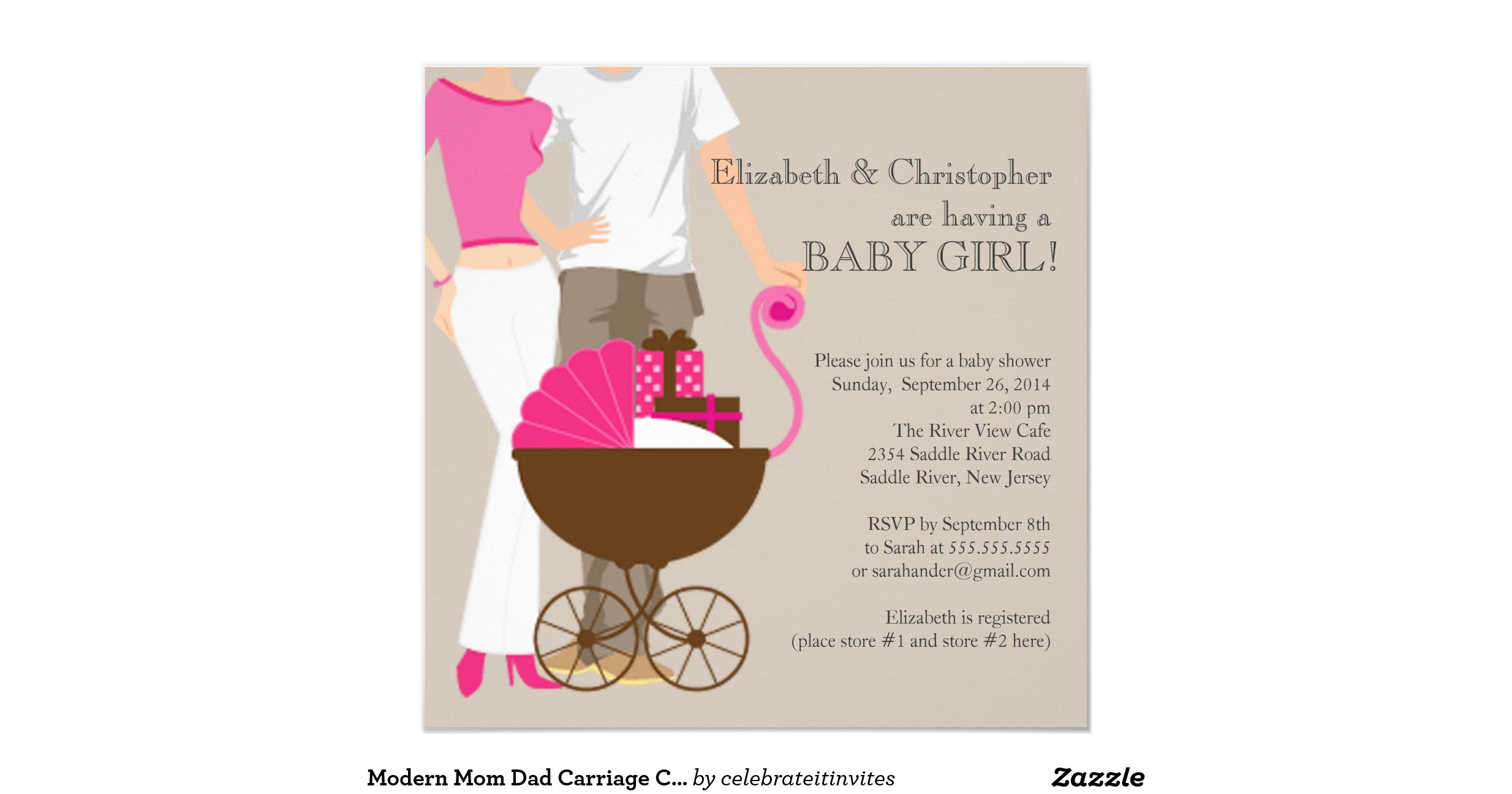 modern mom dad carriage couple baby shower invitation
