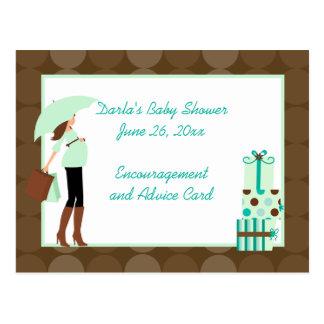 Modern Mom (Green) Baby Shower Advice Cards