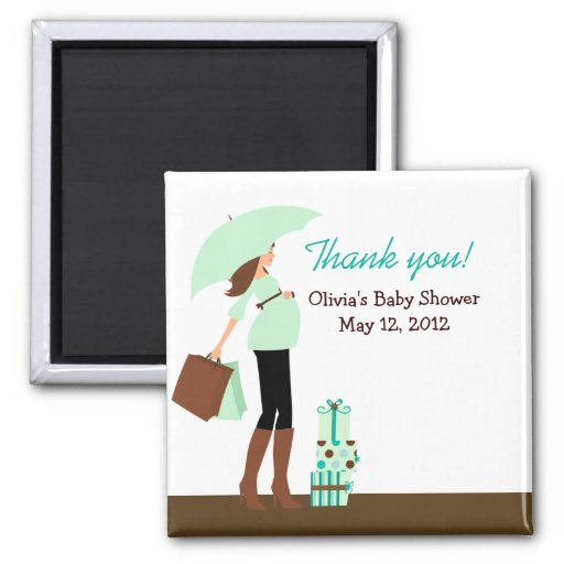 Modern Mom (Green) Baby Shower Favor Magnet