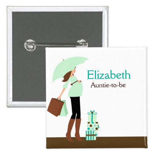 MODERN MOM (GREEN) NAME TAG Custom Button