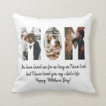 """Modern Mom Photo Collage Happy Mother's Day Quote Throw Pillow<br><div class=""""desc"""">Modern Mom Photo Collage Happy Mother's Day Quote Throw Pillow  The design features 3 of your favorite photos of you and your mother. You can easily customize the photo,  quote names and color of the pillow by clicking 'Customize It' on the sidebar tab.</div>"""
