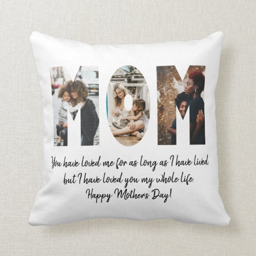 Modern Mom Photo Collage Happy Mother's Day Quote Throw Pillow