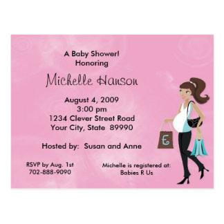 Modern Mom Pink Baby Shower Invitation Postcards