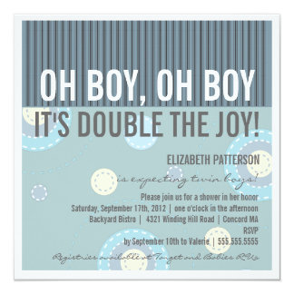 Modern Mom Twin Boy Baby Shower Invitation