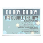 "Modern Mom Twin Boy Baby Shower Invitation 5"" X 7"" Invitation Card"