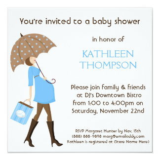 Modern Mommy Baby Bump BOY Shower Party Card