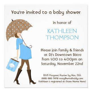 Modern Mommy Baby Bump BOY Shower Party Custom Invitations