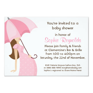 Modern Mommy Pink Baby Shower - Girl 3.5x5 Paper Invitation Card