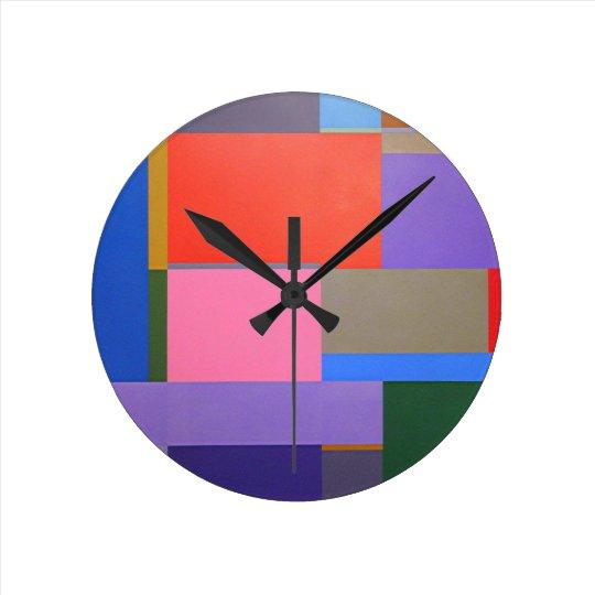 Modern Mondrian Art Round Clock Zazzle Com