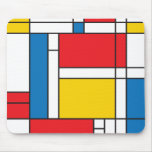 Modern Mondrian Inspired Graphic Pattern Mouse Pad