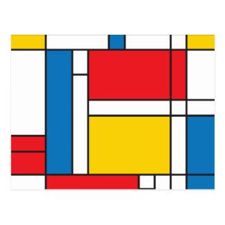 Modern Mondrian Inspired Graphic Pattern Postcard
