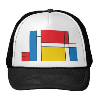 Modern Mondrian Inspired Graphic Pattern Trucker Hat