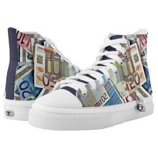 Modern Money, Euros, Custom High-Top Sneakers