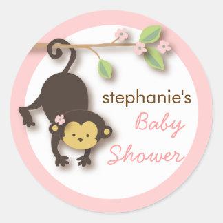 Modern Monkey Sweet Girl Baby Shower in Pink Classic Round Sticker