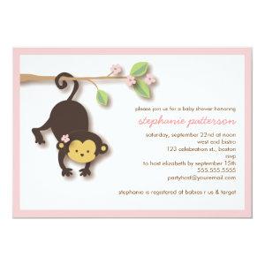 Monkey baby shower invitations cute baby shower invitations modern monkey sweet girl baby shower invitation 5 filmwisefo Gallery