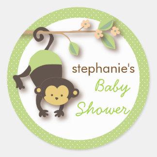 Modern Monkey Sweet Neutral Baby Shower | Green Classic Round Sticker