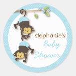 Modern Monkey Twin Boy Baby Shower in Blue Classic Round Sticker