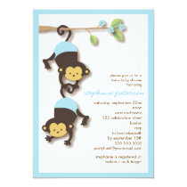 Modern Monkey Twin Boys Baby Shower Invitation