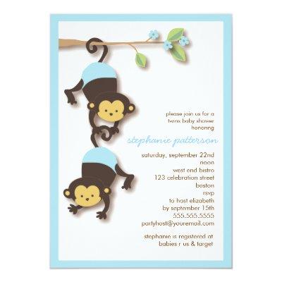 twin monkeys baby shower invitations boy girl | zazzle, Baby shower invitations