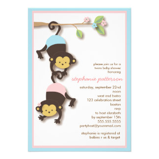 Modern Monkey Twin Girl Boy Baby Shower Custom Announcements