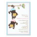 "Modern Monkey Twin Girl & Boy Baby Shower 5"" X 7"" Invitation Card"