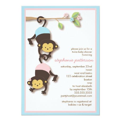 modern monkey twin girl boy baby shower 5x7 paper invitation card