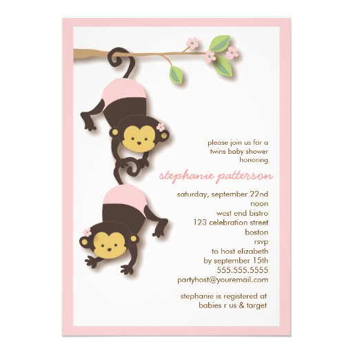 modern monkey twin girls baby shower invitation 5 x 7 invitation