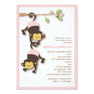 Modern Monkey Twin Girls Baby Shower Invitation