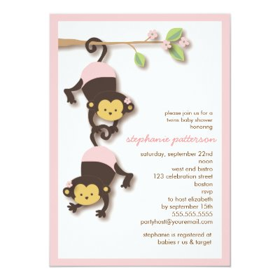 Modern Monkey Twin Girl U0026 Boy Baby Shower Card | Zazzle.com