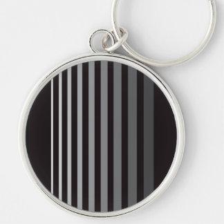 Modern Monochrome Gradient Vertical Stripes Keychain