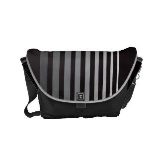 Modern Monochrome Gradient Vertical Stripes Small Messenger Bags