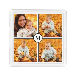 Modern Monogram 4 Photo Collage Black Border Acrylic Tray