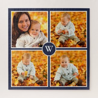 Modern Monogram 4 Photo Collage on Navy Blue Jigsaw Puzzle