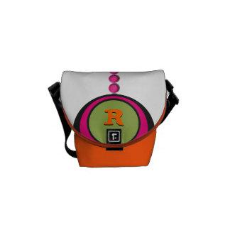 Modern Monogram and Name Polka Dots Messenger Bag