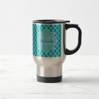 Modern Monogram Aqua Turquoise Quatrefoil and Name 15 Oz Stainless Steel Travel Mug