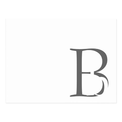 Modern Monogram B Black and White Card Postcard