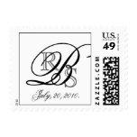 Modern Monogram B Black & Grey USPS Postage