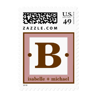 Modern Monogram B  Rose & Chocolate Brown Stamps
