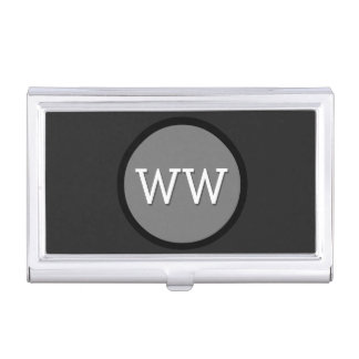 Modern Monogram Black and Grey Circle Case For Business Cards