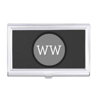 Modern Monogram Black and Grey Circle Business Card Holders