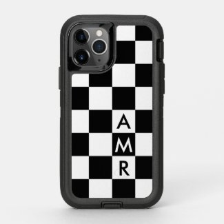 Modern Monogram Black and White Checkered Pattern OtterBox iPhone Case