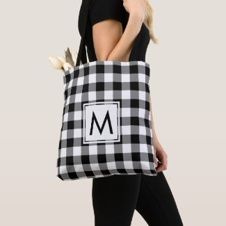 Modern Monogram Black and White Gingham Pattern Tote Bag
