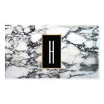 Modern Monogram, Black and White Marble Stone Business Card