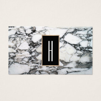Modern Monogram, Black and White Marble, Stone Business Card