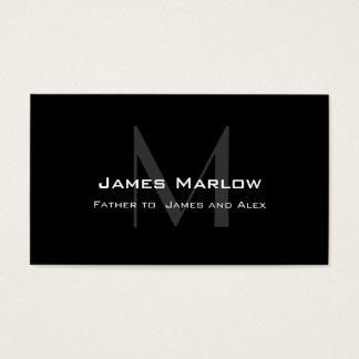 Modern Monogram Black Grey Daddy Calling Card