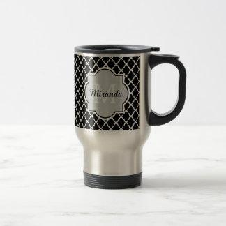 Modern Monogram Black White Quatrefoil With Name 15 Oz Stainless Steel Travel Mug