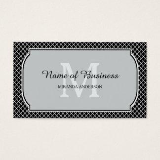 Modern Monogram Black White Quatrefoil With Name Business Card