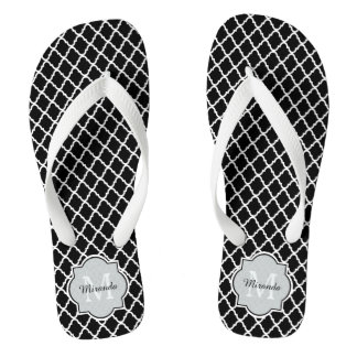 Modern Monogram Black White Quatrefoil With Name Flip Flops