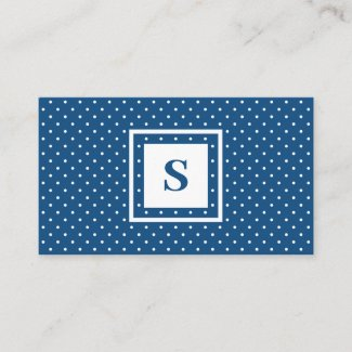 Modern Monogram Blue and White Polka Dot Pattern Business Card