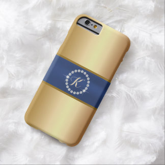 Modern Monogram Blue Belt Gold iPhone 6 Case